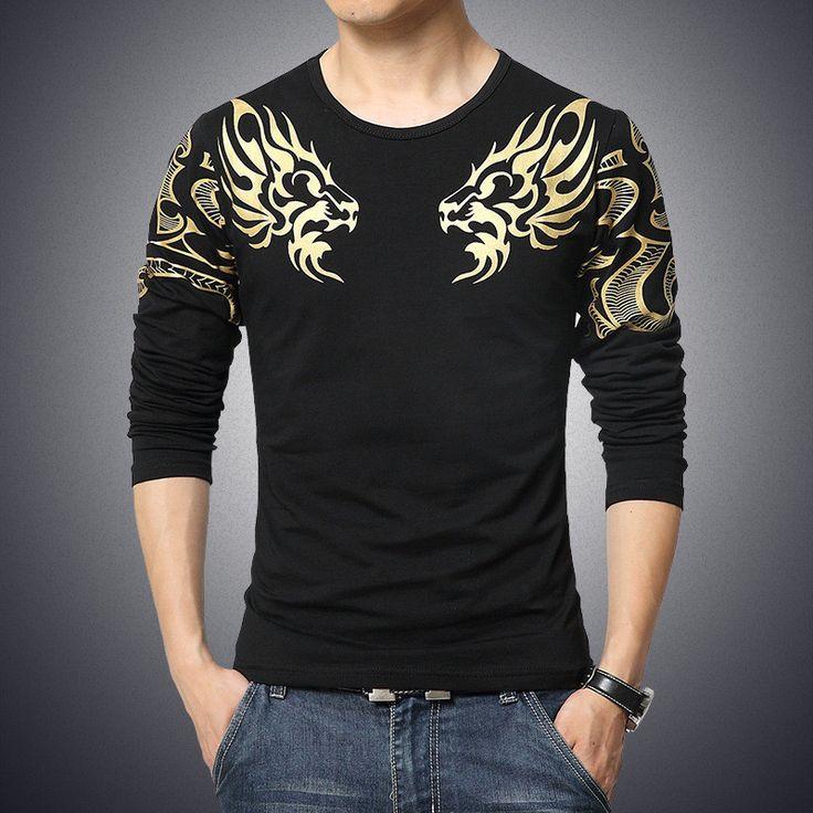 Slim long-sleeved dragon printing atmosphere T-shirt. Cheap T ShirtsMen's  ...