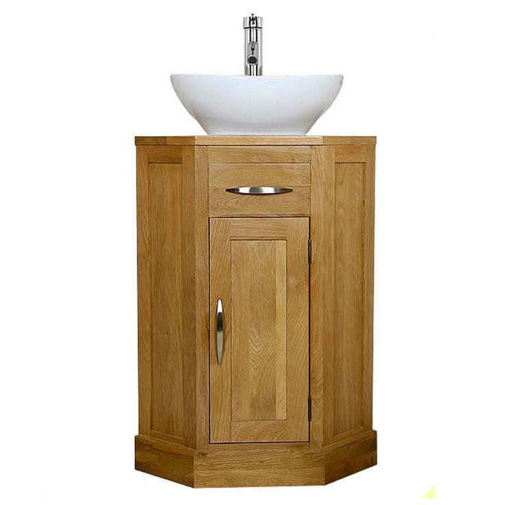 Corner oak cloakroom vanity unit with basin bathroom inspire minimal bath pinterest for Corner vanity units for small bathrooms