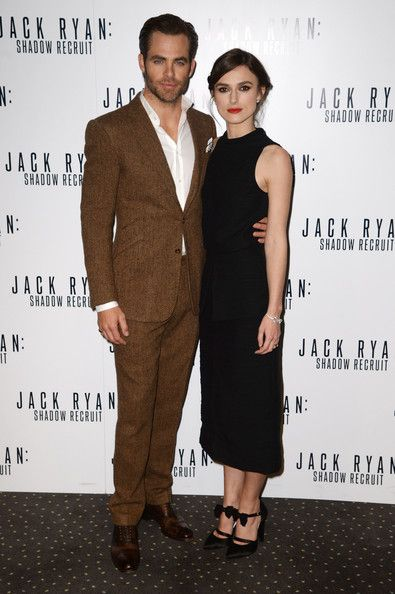 Chris Pine and Keira Knightley attend the UK premiere of 'Jack Ryan: Shadow Recruit' on January 20, 2014 in London, England.