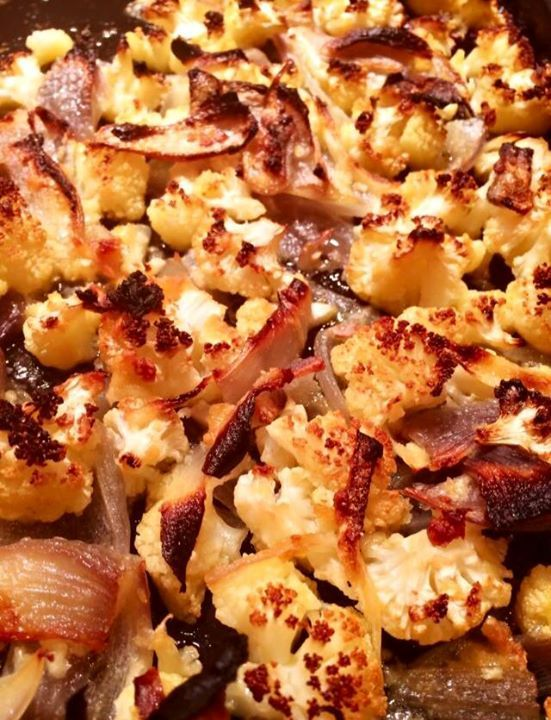 My favorite roasted cauliflower recipe! So easy and so yummy!