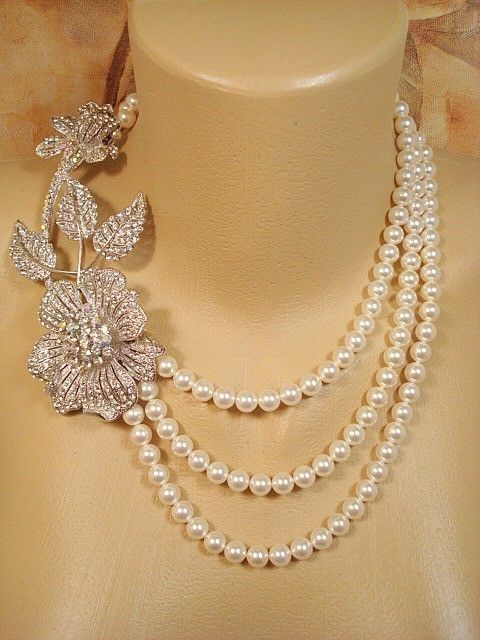 Bridal statement necklace pearl necklace wedding by treasures570, $135.00