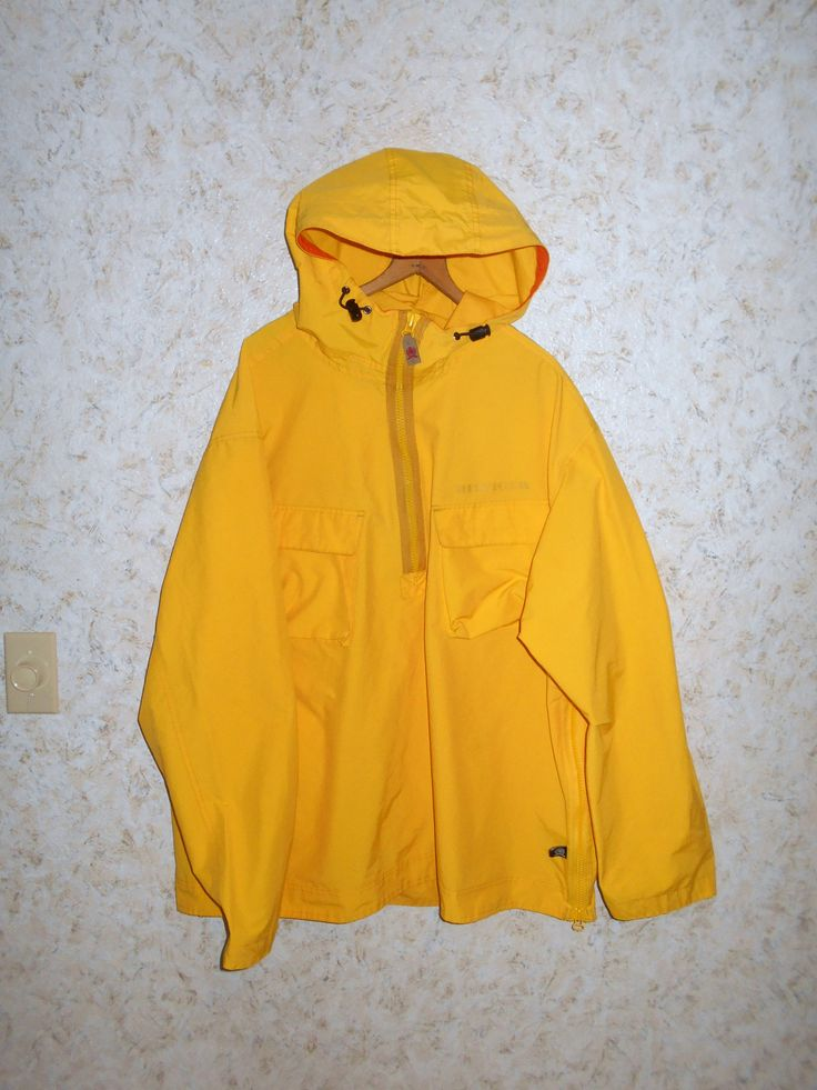 Vintage Tommy Hilfiger Yellow Sailing Yachting Pullover Windbreaker Jacket Coat Hooded 1/2 Zip TH Mens Size XL  XLarge by CoolDogVintage on Etsy
