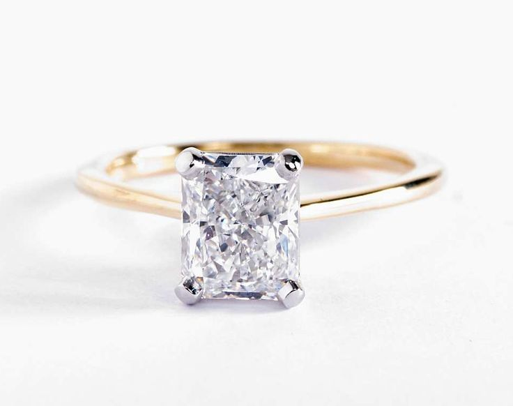 1.7 Carat Radiant Diamond in the Petite Solitaire Engagement Ring | Blue Nile Engagement Rings