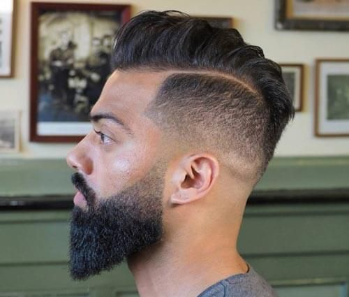 Mid Fade Comb Over with Side Part - Gallant Hairstyles for Men with Receding Hairlines