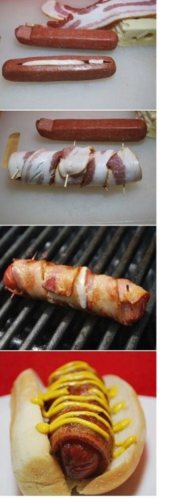 Cheese Stuffed Bacon Wrapped Hot Dog!!!  (Used Shredded Cheese, wasn't bad!)