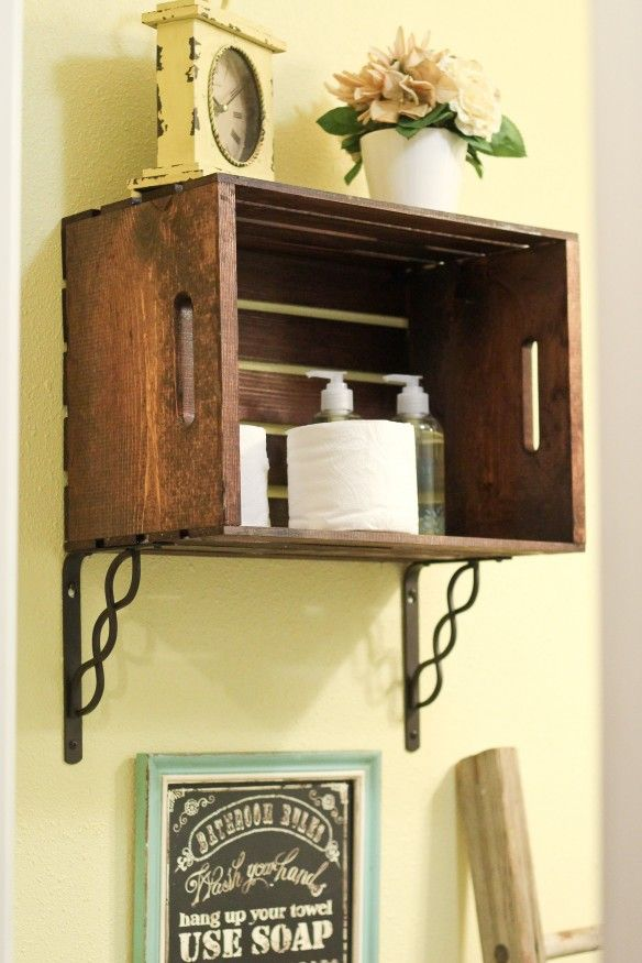 Crate Shelf -- simple and inexpensive! Great way to store stuff in a small bathroom.
