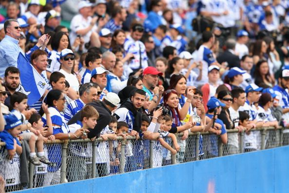 News Photo: Bulldogs fans watch on during a Canterbury Bulldogs…