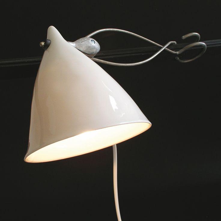 Tsé & Tsé CORNETTE - Lampe à pince porcelaine Blanc émaillé H18cm