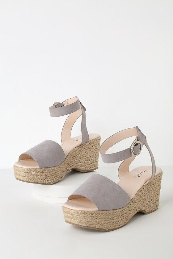 e36eea248373 Elyse Light Grey Suede Platform Espadrille Sandals