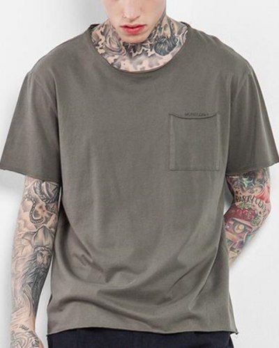 Plain Army green t shirt with pockets for men high street high low tops