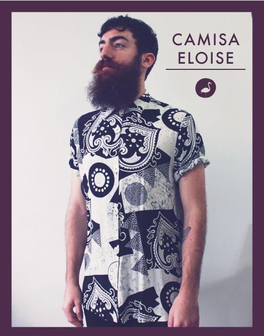 Nuestra camisa masculina ELOISE, disponible en talla M, nos devuelve al final de los años 80 con su mix de estampados imposibles mientras suena de fondo Mecano y Tino Casal.