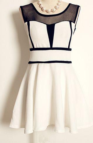 White Sleeveless Contrast Mesh Yoke Pleated Dress US$34.50