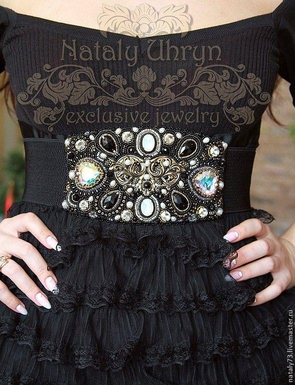 """Купить пояс """"Рафаэль"""" - черный, орнамент, пояс из бисера, вечерний аксессуар, вечернее украшение"""
