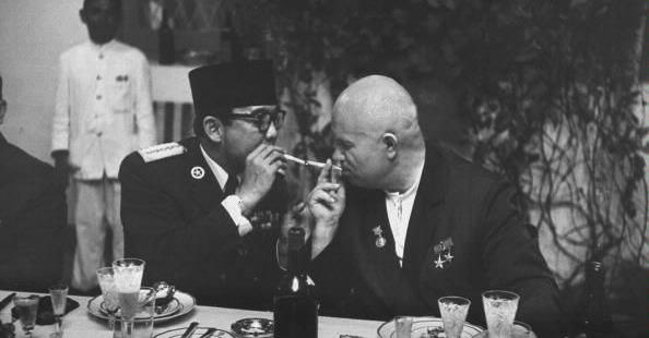 USSR President Nikita Khrushchev with Indonesian President Sukarno in Indonesia, Feb 01, 1960.