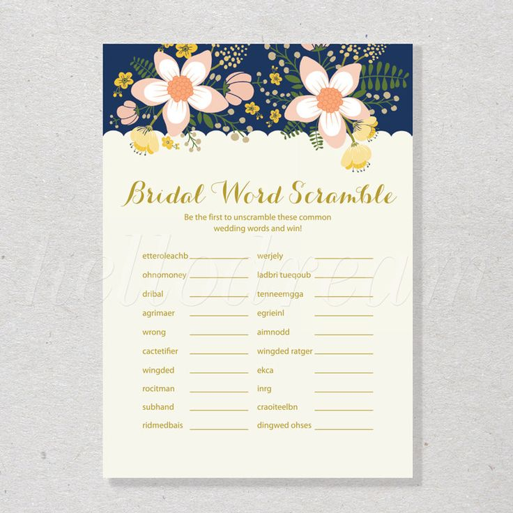 Navy And Garden Floral Bridal Word Scramble Game Shabby Chic Flower Wedding Shower
