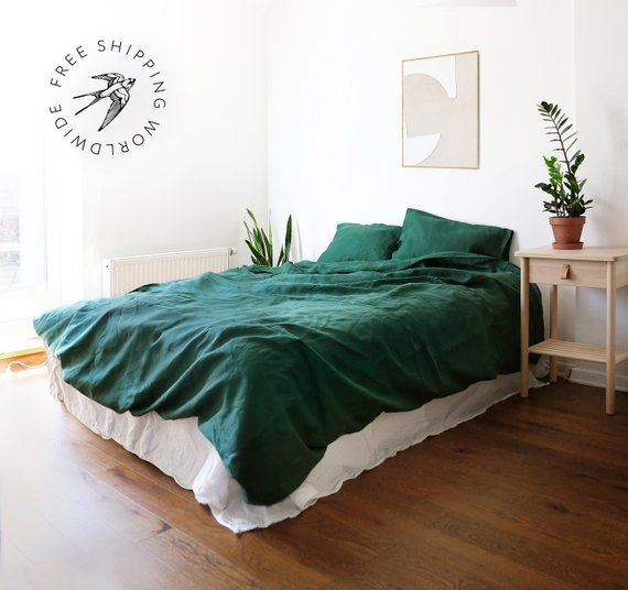 3 Piece Washed Linen Bedding Set Forest Green Linen Duvet Cover 2 Pillowcases Us Full Us Queen Bed Linen Sets Bed Duvet Covers Green Duvet Covers