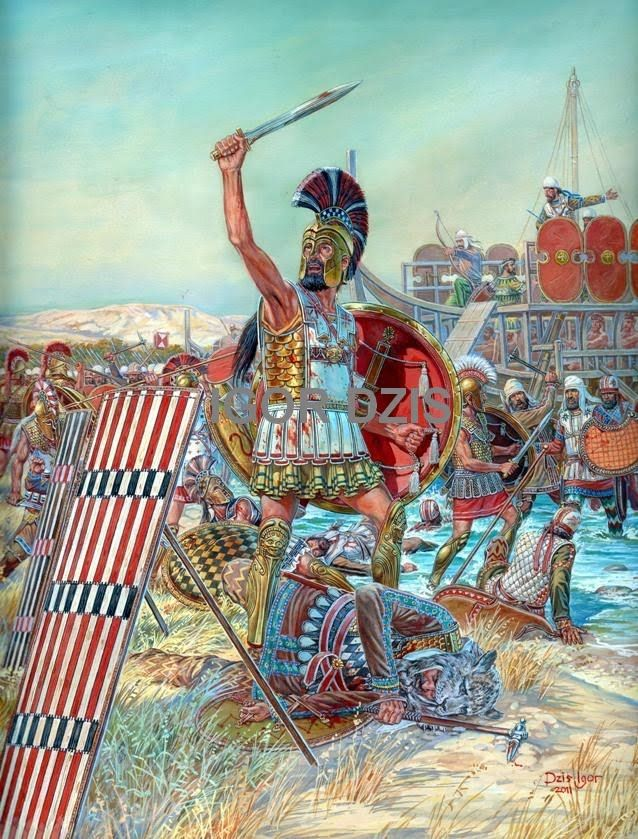 """Battle of Marathon  September 12,490 B.C."" The Persians are being force​d back to their ships.-IGOR DZIS BATTLE PAINTING"