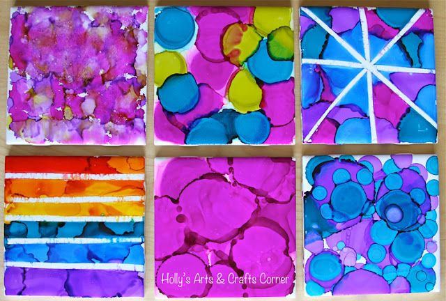 Alcohol Ink Tiles Part 2: my 6 year olds tiles.