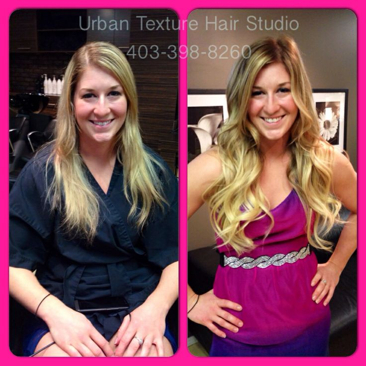 "We gave her a beautiful new Balayage and 18""-20"" hair extensions to add length and and a lot more thickness and blonde underneath. I'd say she looks pretty happy!  Hair by Laurie   403-398-8260 #urbantexturehairstudio #urbantexture #hair #hairsalon #calgary #hairsaloncalgary  #calgaryhairsalon #hotheads #hairextensions #calgaryhairstylist #haircut #color #foils #blonde #wavy #curly #curls #balayage #ombre #schwarzkopf  #redken #eufora #surfacehair #btcpics"
