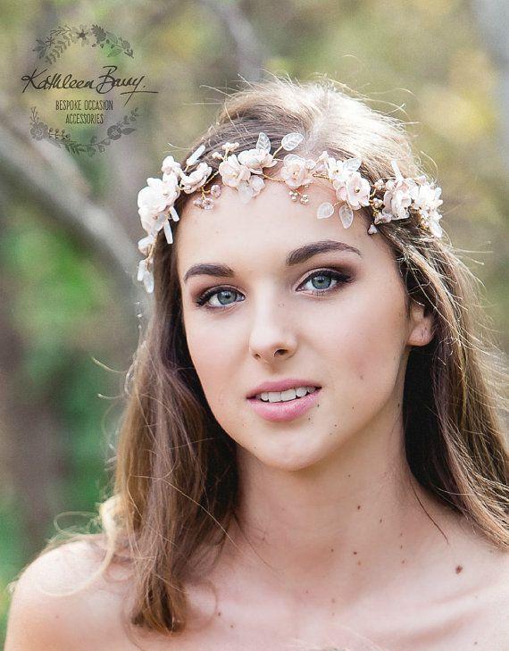 Rose gold bridal wreath crown flower leaf headband Wedding hair accessory, blush pink and gold hair