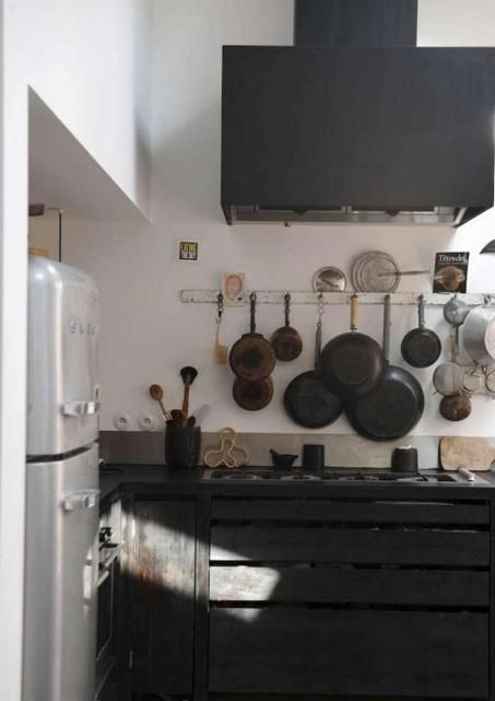 black charred looking cabinets. cool
