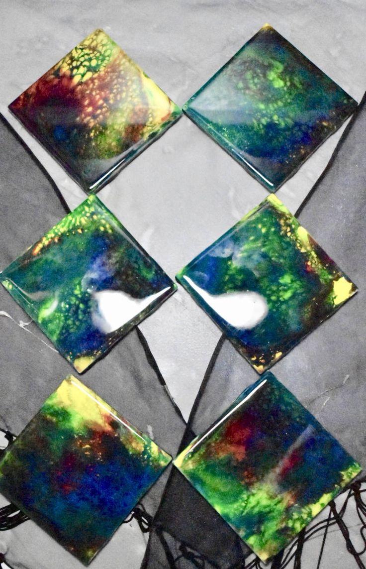 Elysian Inks - Ceramic Coasters - set of 6 - epoxy resin finish  #homedecor #4x4inches #ceramics #coasters