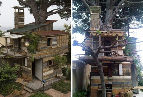 Treeshack. Yeah.: Artists, Recycled Shelters, Trees Houses, Clutter, Amazing Trees, Tree Houses, Architecture, Cardboard Houses, Houses Projects