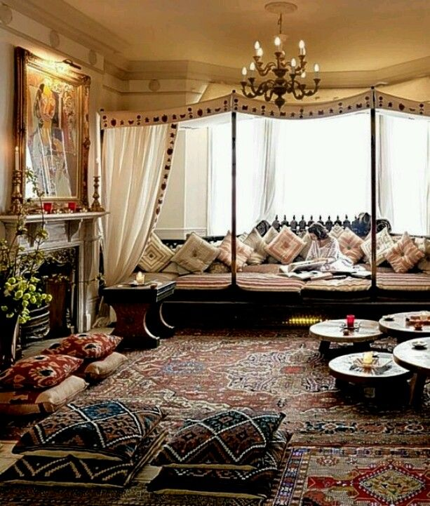 Moroccan Style Floor Pillows Canopy And Chandelier Fireplace Oriental Rugs Modern Bohemian Boho Interior Design Vintage Mod Mix With Nature