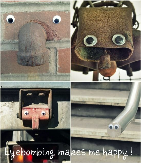 Eyebombing!  Take a walk with a toddler who is learning to recognize faces and add googly eyes where needed.  This sounds so fun, though it might technically be vandalism. Em would love this, @Angela Madill Burgess!