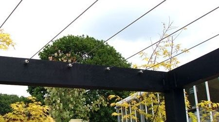 Cable Railing for Pergola Structures, tension stainless steel wire rope for pergolas and plant training