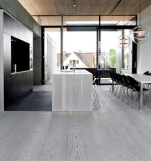 Gray Wood Flooring Kitchen: Grey Tones Floorboards