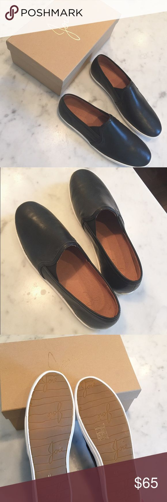 Joie Kidmore Sneakers Joie Kidmore Sneakers. Black leather. Size 41/11.  Brand new, in box. The street wear staple gets a chic update in python stamped leather. An off duty classic with luxe appeal, our Kidmore slip on sneaker is a wardrobe must! So comfy! Joie Shoes Sneakers