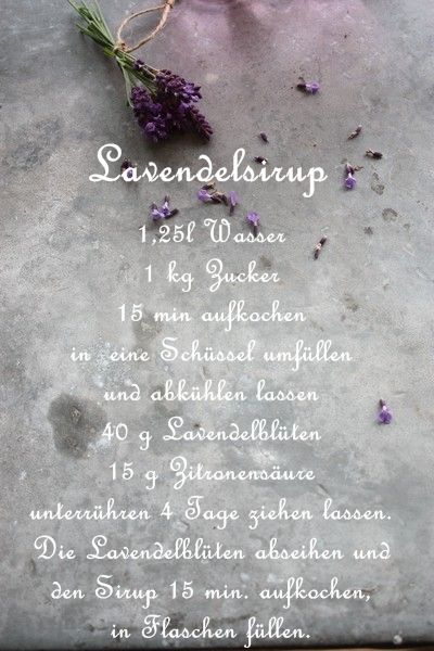 Auch aus Lavendel kann man köstlichen Sirup machen ( dann ist aber endlich Schluss mit den Sirup Rezepten). Ein Schuss in den Sekt o...