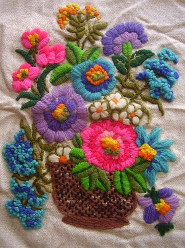 Crewel Embroidery by madelinetosh --- omg -- I did this same embroidery pattern years ago