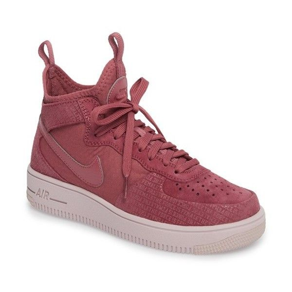 Women's Nike Air Force 1 Ultraforce Mid Fif Sneaker ($110) ❤ liked on Polyvore featuring shoes, sneakers, nike sneakers, star shoes, studded sneakers, nike trainers and laced shoes