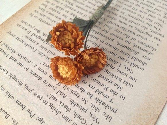 〈Крашеные цветы〉цвета осени мини Дейзи корсаж(горький Апельсин)|корсаж|бумажная луна|силы продаж и продаж Creema