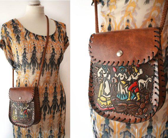 Tooled Italian Vintage Bag/ Leather Purse/ by BelmondoVintage, €20.00