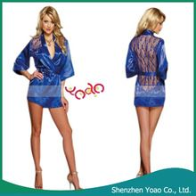 Lace Mesh Back Sleepwear Night-Robe Sexy Lingerie Set Blue M Best Seller follow this link http://shopingayo.space