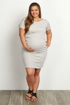 Ivory-Grey-Striped-Fitted-Short-Sleeve-Plus-Size-Dress