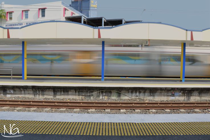 Slow shutter speed at a train station