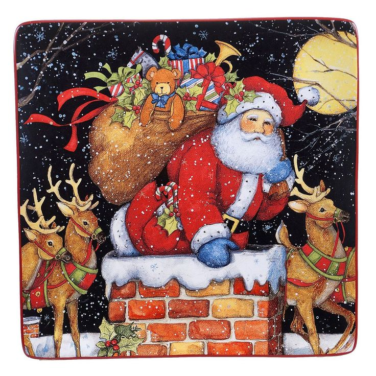 Certified International The Night Before Christmas Square Platter, Multicolor