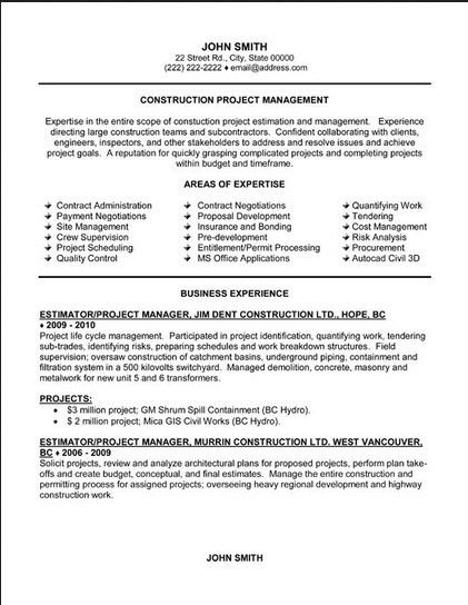 21 best Best Construction Resume Templates \ Samples images on - project management resumes