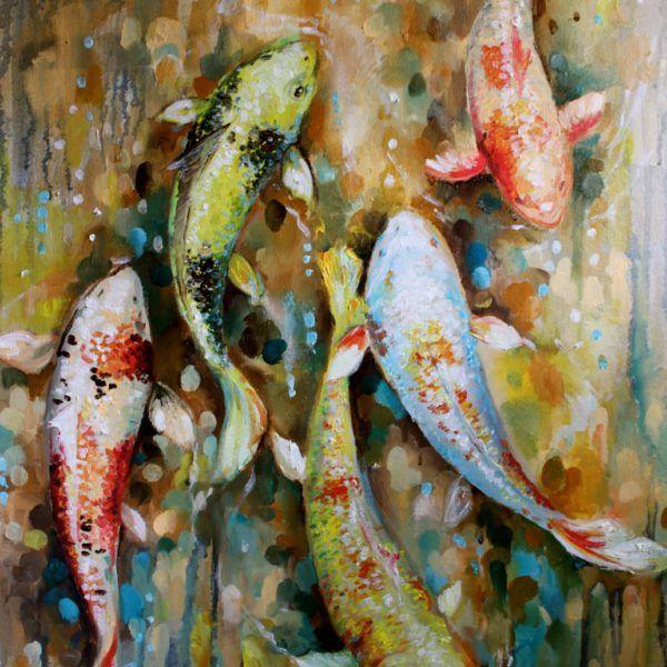 Koi fish painting, luxury home decor