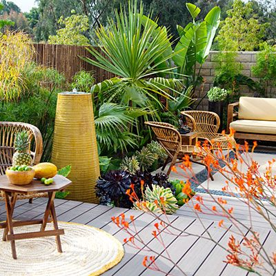 Easy-care plants and materials create a low-maintenance garden that can fend for itself for weeks at a stretch. See how durable furnishings,...