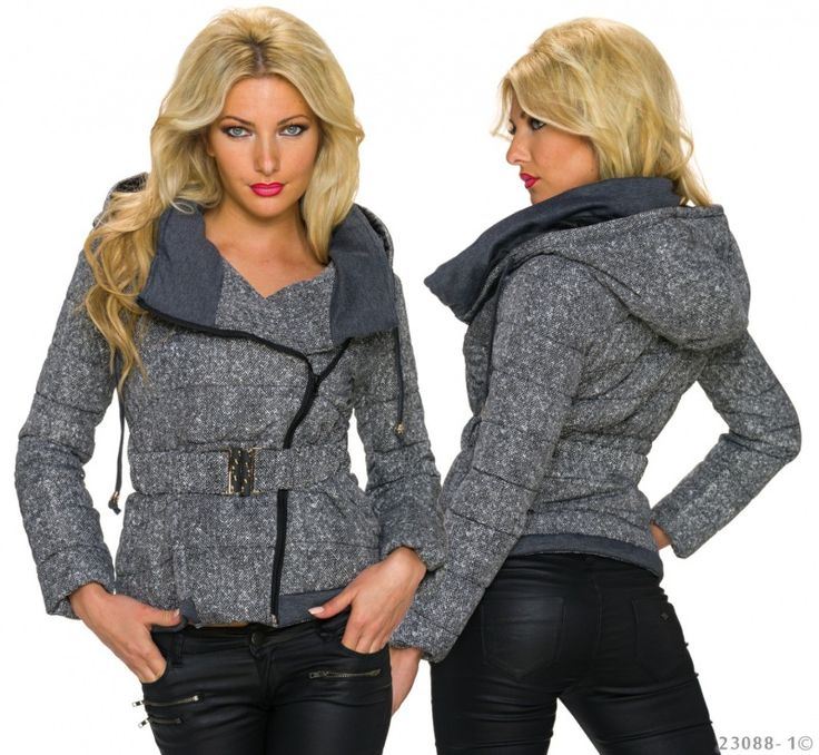 Novinka - originální Dámská zimní bunda v šedo-bílé variantě se šikmým zapínáním a kapucí. K dispozici je ve velikostech XS, S, M.