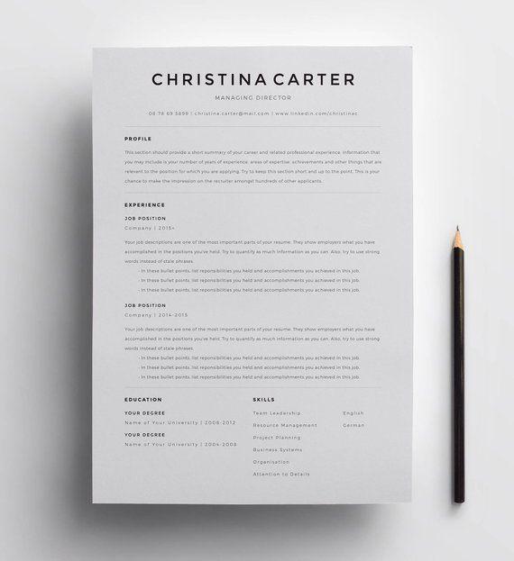 Creative Resume Template Minimalist Resume Resume Modern Resume Cv