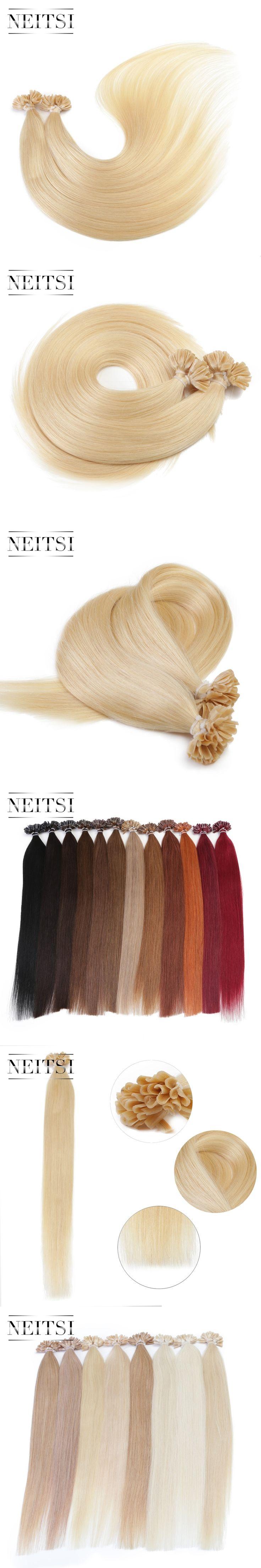 "Neitsi Straight Keratin Human Fusion Hair Nail U Tip Machine Made Remy Pre Bonded Hair Extension 16"" 20"" 24"" 1g/s Muti-Colors"