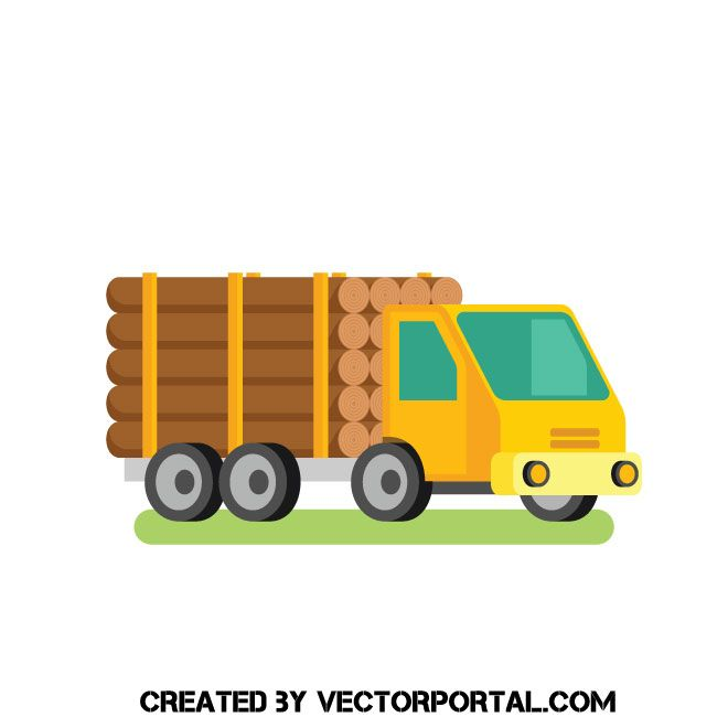 Lumber Truck Vector Clip Art With Images Clip Art Free Clip
