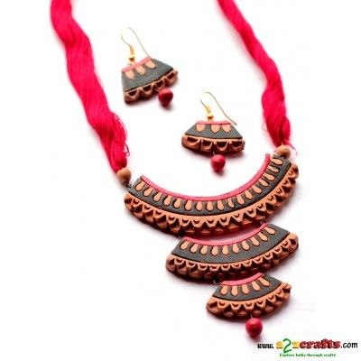 Terracotta 3 layer necklace - Terracotta - Rs. 390 - Hand Made Crafts - Buy & Sell Indian Handmade Crafts and Handmade terracotta, dokra Jewelry and Gifts