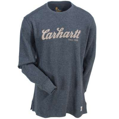Carhartt Shirts: 100569 026 Thermal Knit Men's Carbon Heather Logo Shirt - Carhartt Shirts - Shirts - Workwear